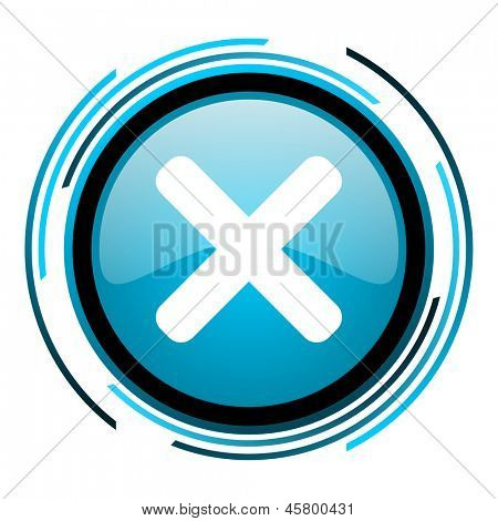 cancel blue circle glossy icon