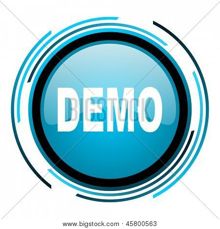 demo blue circle glossy icon