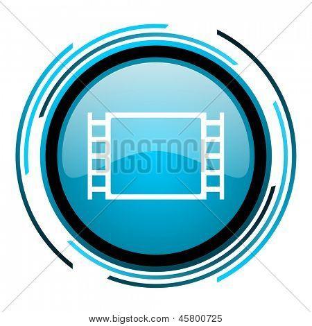 movie blue circle glossy icon