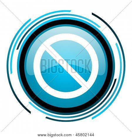 access denied blue circle glossy icon