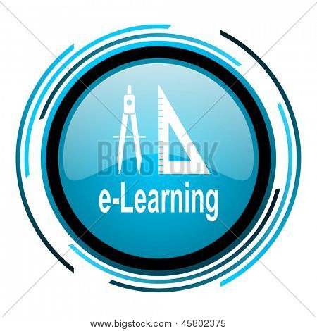 e-learning blue circle glossy icon