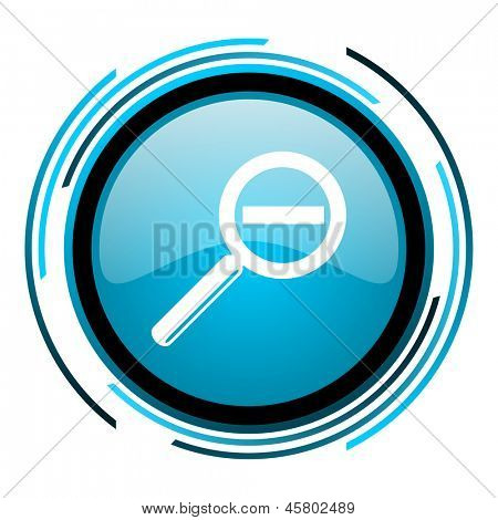magnification blue circle glossy icon