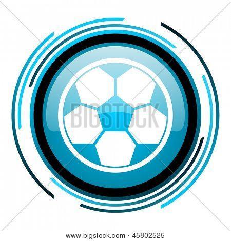 soccer blue circle glossy icon