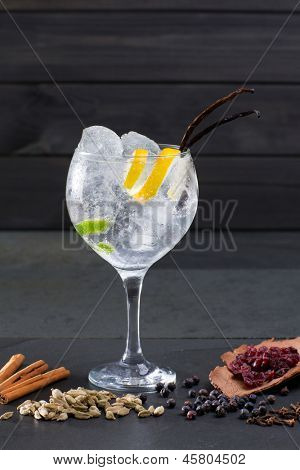 Gin tonic cocktail with ice vanilla lima and varied spices on black background