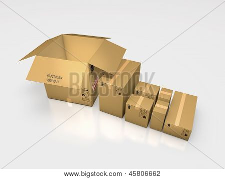 a series of cardboard box