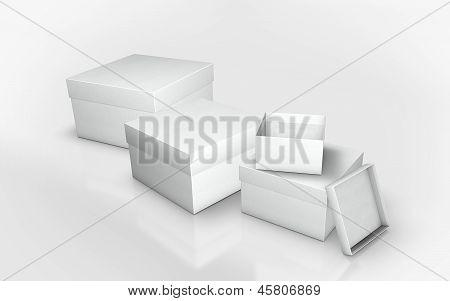 a series of white cardboard box