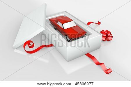 a red car  in a white cardboard