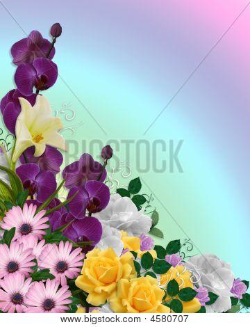 Floral Border Springtime Colors