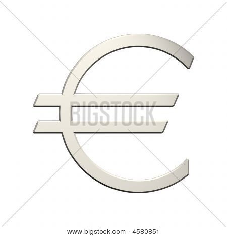 Silver Euro Sign Isolated On White