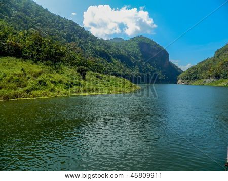 Beautiful View Of Mountain River In Lampoon Thailand