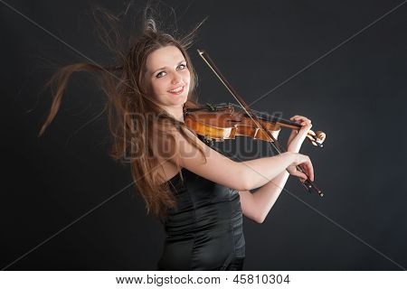 Portrait Of A Cheerful Violinist