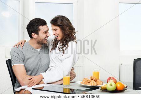 beautiful couple having breakfast