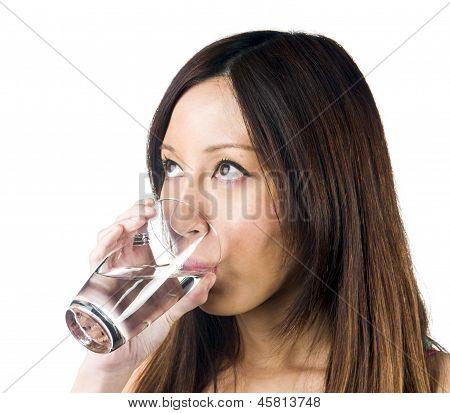 Asian Girl Drinking Water