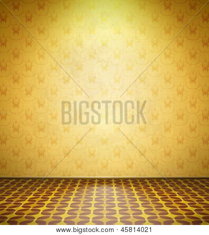 Viejo abandonó la habitación con fondo amarillo