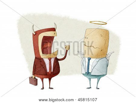 Angry Demon Businessman Shouting An Angel Businessman