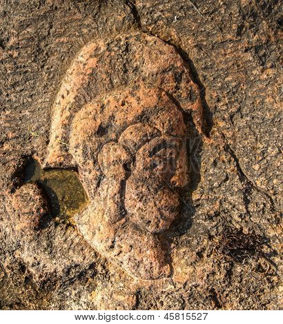 CRIMEA - MAY 06: New tourist attraction - Rock carvings on the seashore (head of the Roman legionary) created by an unknown contemporary author near Sevastopol (Crimea), Ukraine, May 6, 2013.