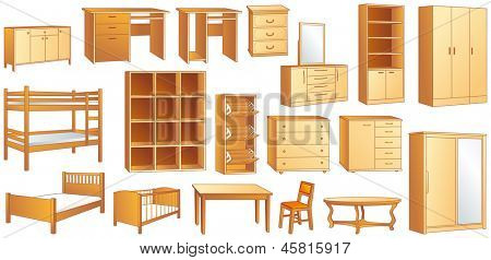 Wooden furniture set: commode, bookshelf, dresser, bunk, bed, cot, shoe case, chair, table, desk, wardrobe. Vector illustration