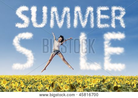 Summer Sale Clouds And Woman Jumping Over Sunflowers