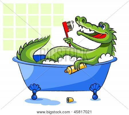 Crocodile In A Bathtub