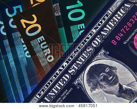 Negative image of Dollar and Euros bank notes
