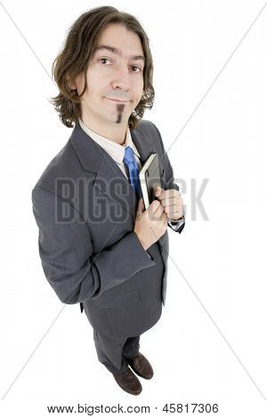 silly young businessman full length with a book