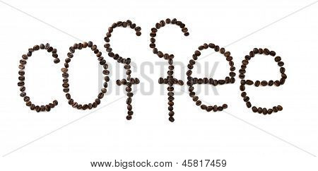 The Word Coffee Drawn By Coffee Grains