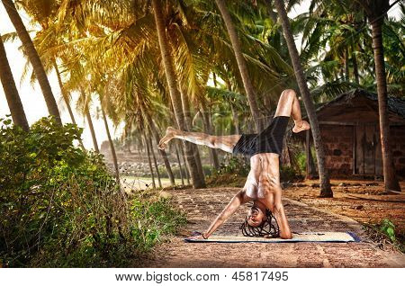 Yoga Handstand Pose In Tropic