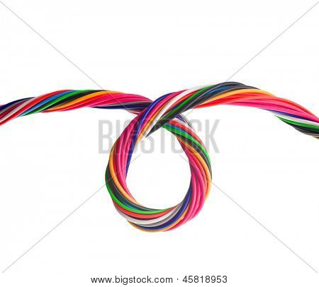 Bundle of colorful electrical cables, in a loop. isolated on white.
