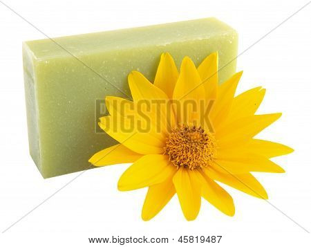 Yellow Flower And Green Soap