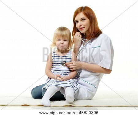 Female  Doctor And Small Patient.