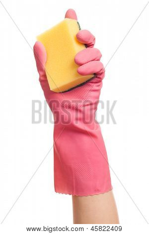 Hand in a pink glove holding sponge isolated over white background