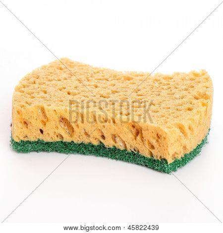 Domestic ordinary sponge isolated over white background