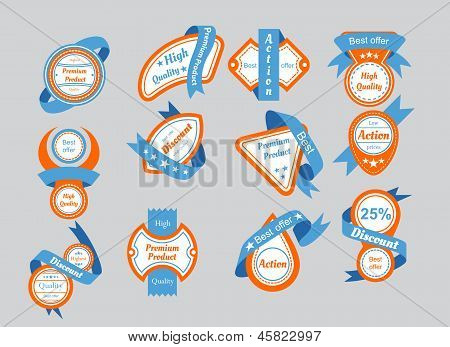 Orange Labels With Blue Ribbons
