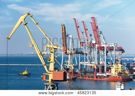 cranes and ships in port