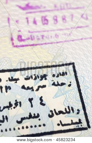 arab stamp on passport page