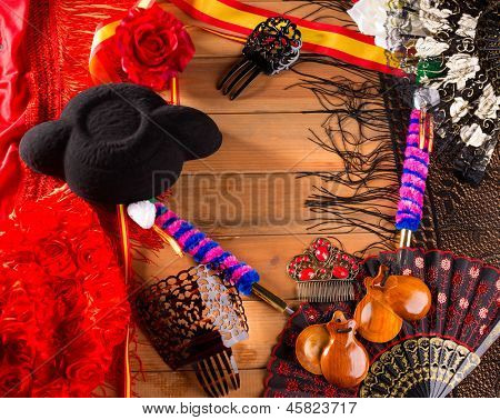 Bullfighter and flamenco typical from Espana Spain torero hat castanets comb flag and rose