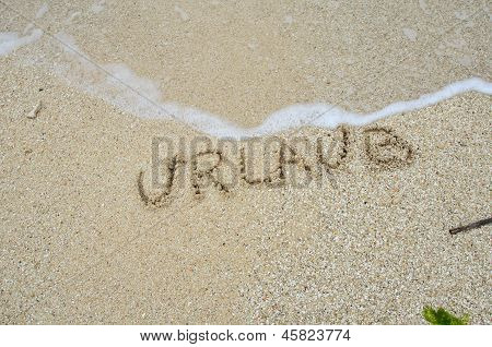Inscription Urlaub On The Sand At The Beach.