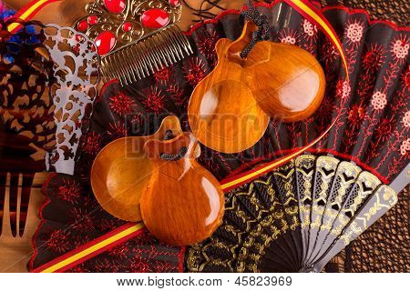 Espana typical from Spain with castanets rose fan bullfighter and flamenco comb
