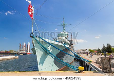 """GDYNIA, POLAND - MAY 19: Polish destroyer """"ORP B?yskawica"""" preserved as a  museum ship at the Baltic Sea in Gdynia on 19 May 2013. This destroyer served in the Polish Navy during World War II."""