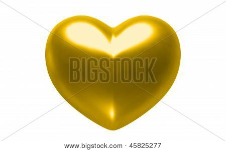 Gold Heart Isolated On White Background