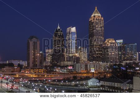 ATLANTA, GEORGIA - FEB 14, 2011:  Dusk photo of homes and towers in Atlanta's fast changing Midtown area on February 14, 2011 in Atlanta, Georgia USA.