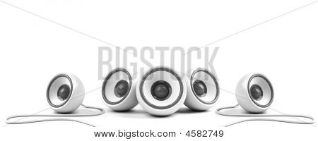 White Stylish Stereo System With Cables