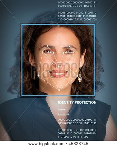 Female face with lines from a facial recognition software