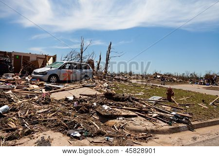 MOORE, OKLAHOMA (USA) - MAY 20th 2013. EF5 tornado strikes the city of Moore, Oklahoma. The whole town is abolished. These images show the heavy damage. Moore, Oklahoma (USA) - May 20th 2013.