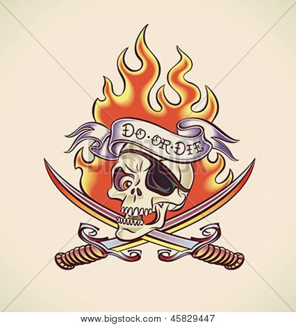 Vintage tattoo design with a skull of pirate, swords, flame and banner. Editable layered vector.