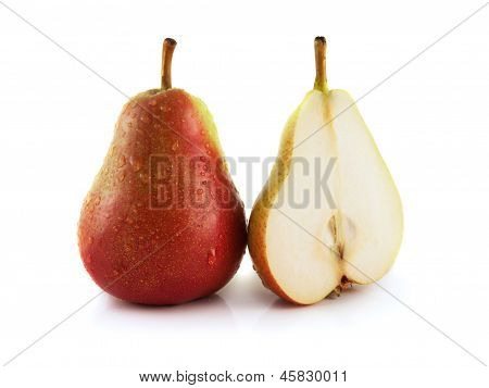 Ripe red pear with half on white background (wet)