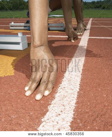 Hands at the starting line