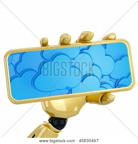 3D Robotic Hand Hold Plate With Cloud Computing Background