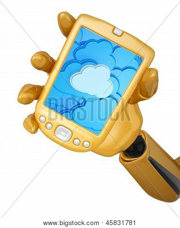 Gold Pda With Cloud Computing Background