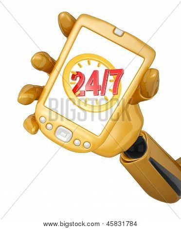 Gold Pda With Twenty Four Hour Seven Days A Week Service Sign
